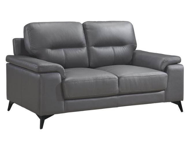 Mischa Leather Love Seat  Dark Gray