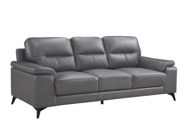 Mischa Leather Sofa Dark Gray